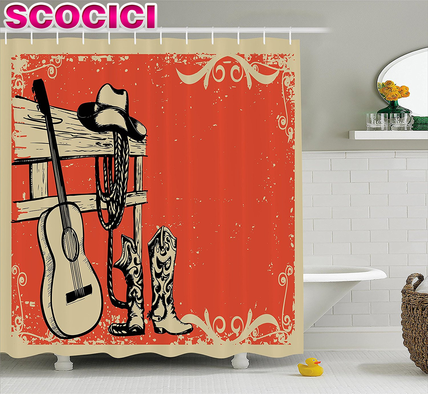 Country western shower curtains - Western Decor Shower Curtain Set Illustration Of Wild West Elements With Country Music Guitar And Cowboy Boots Retro Art Bathroo