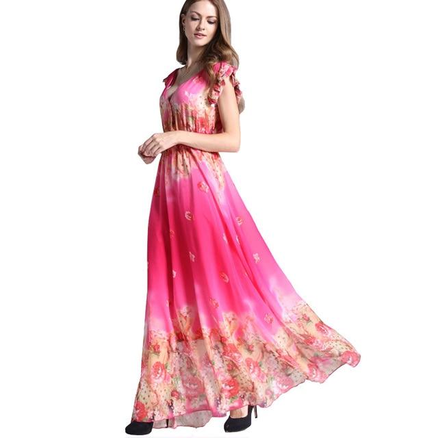 Maxi Chiffon Jurk.Zomer Vrouwen Retro Jurk Roze Bloemen Plus Size Jurk Ruche Mouw
