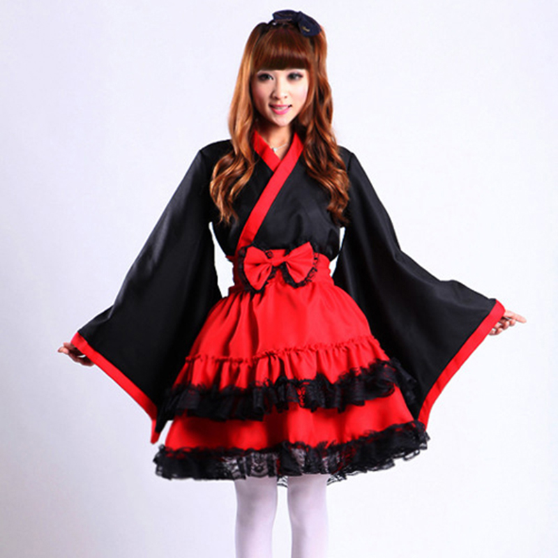 high quality Japanese kimono Maid Costume Plus Size Kimono sleeves maid Cosplay clothing Gothic Lolita Dress Halloween for Women