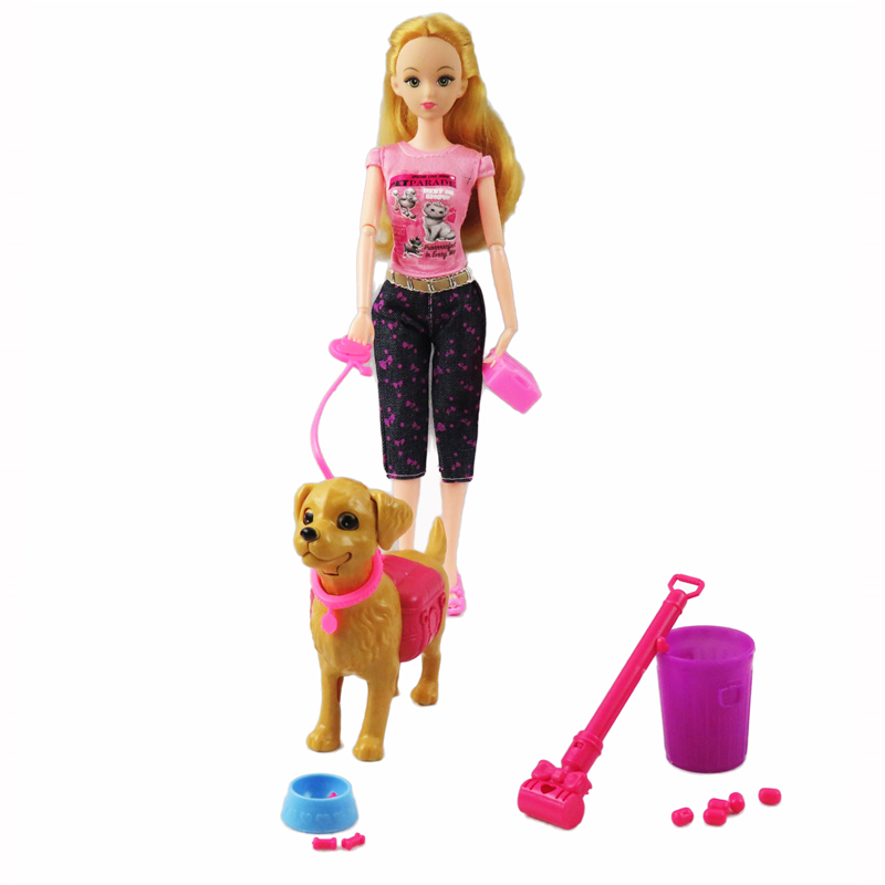 1:6 Plastic Pet Dogs Sets Feeding Dog Food Bone Bowl Outside Dolls Accessories Barbie FR Kurhn Doll Kid Play Dollhouse Gift Toys large abs auto feeding bowl for pet dog cat deep pink translucent white