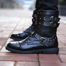 new mens Martin boots high tube casual leather trend military
