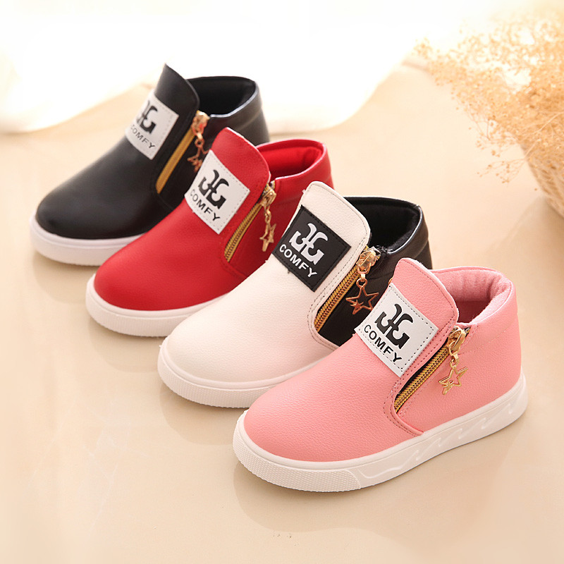 Comfy kids 2017 child sneakers fashion boys girls leather boots shoes for baby boots shoes flat with child girls boots shoes