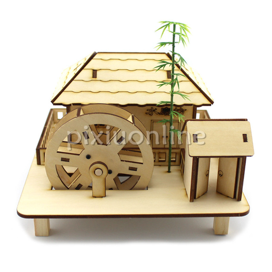 J680 Wooden Splice Plate Joint Water Mill Desk Decorate Children Toy Free Shipping Russia