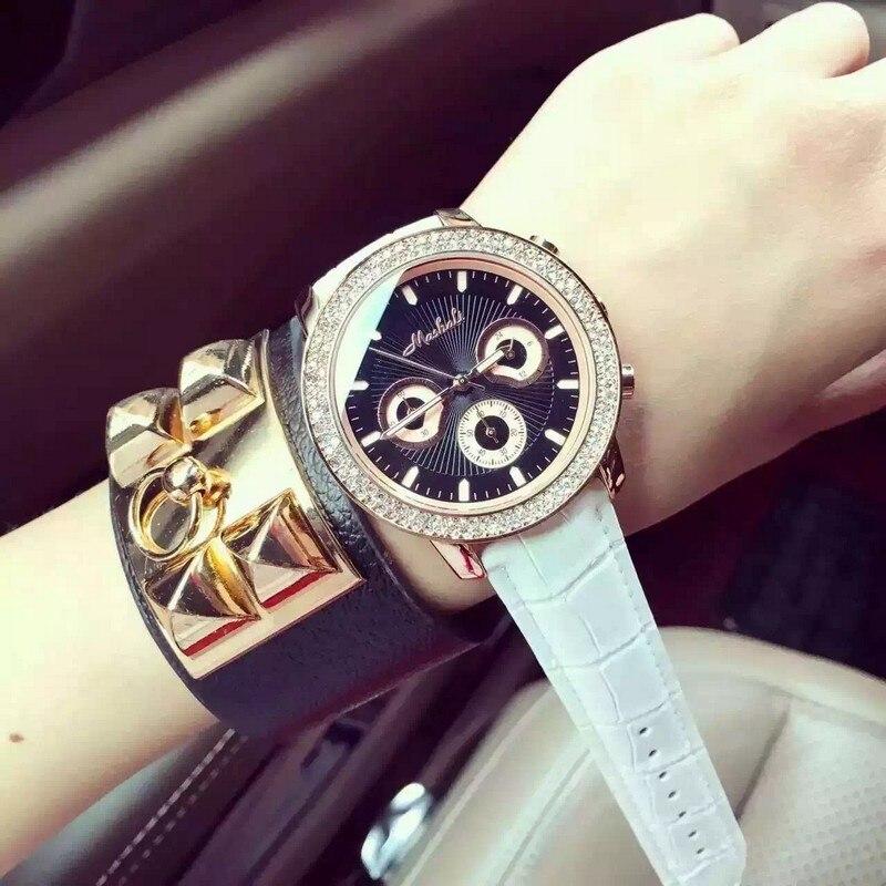 New Brand Fashion Watch Women Dress Quartz-Watch Golden Ladies Leather Wristwatch Waterproof Clocks relojes mujer 2016