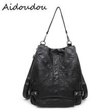 Моды Натуральная Кожа Женщин рюкзак на одно плечо плечи двойного назначения черный мешок большой емкости сумки Бесплатная Доставка BA47
