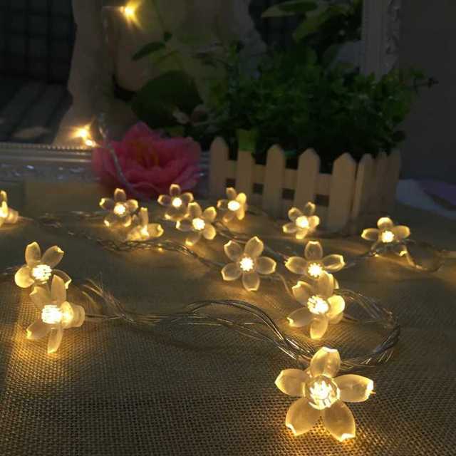 8M 50 LED Cherry Floral LED Garland String Lights Battery Wedding party room Holiday Lighting Christmas Decoration Fairy lights