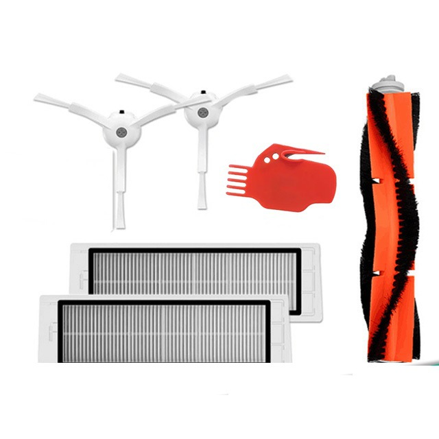 6pcs Vacuum Cleaner parts 2 * side brush + 2* HEPA filter + 1* main brush + 1 * tool for roborock s6 Xiaomi Mi Robot
