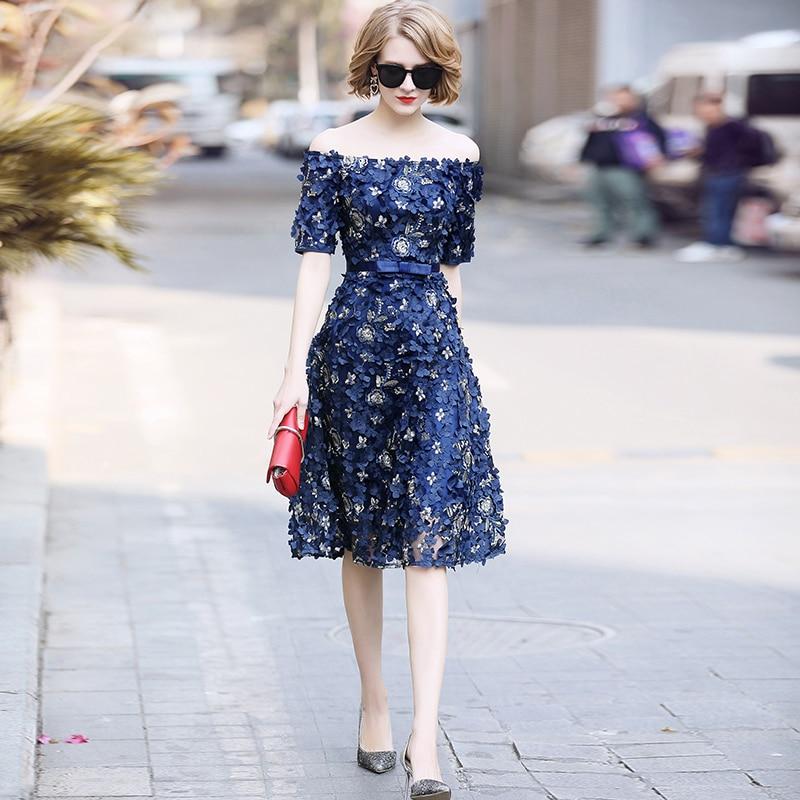 Floral Embroidery 2018 Summer Womens Designer Runway Dress High End Elegant Slash Neck Off The Shoulder Summer Dress Vestidos