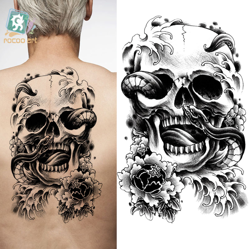 Body Art Large Tattoo Sticker Halloween Skull