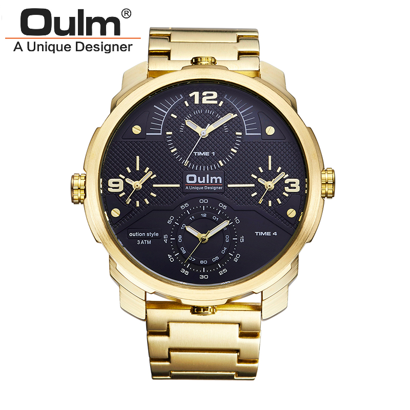 OULM 3749 Watch top Brand Business Men Male Luxury Casual Full steel four Movement Wristwatches quartz watches relogio masculino brand oulm 9316b japan movt big face watches men triple time rose gold luxury analog digital casual watch relogio male original