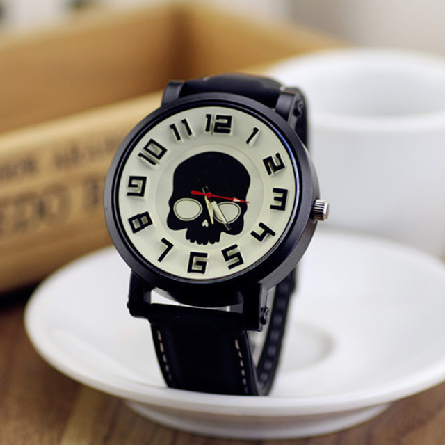 BGG Skull head Pattern Men Quartz Watch Leather Male Casual Watch ...