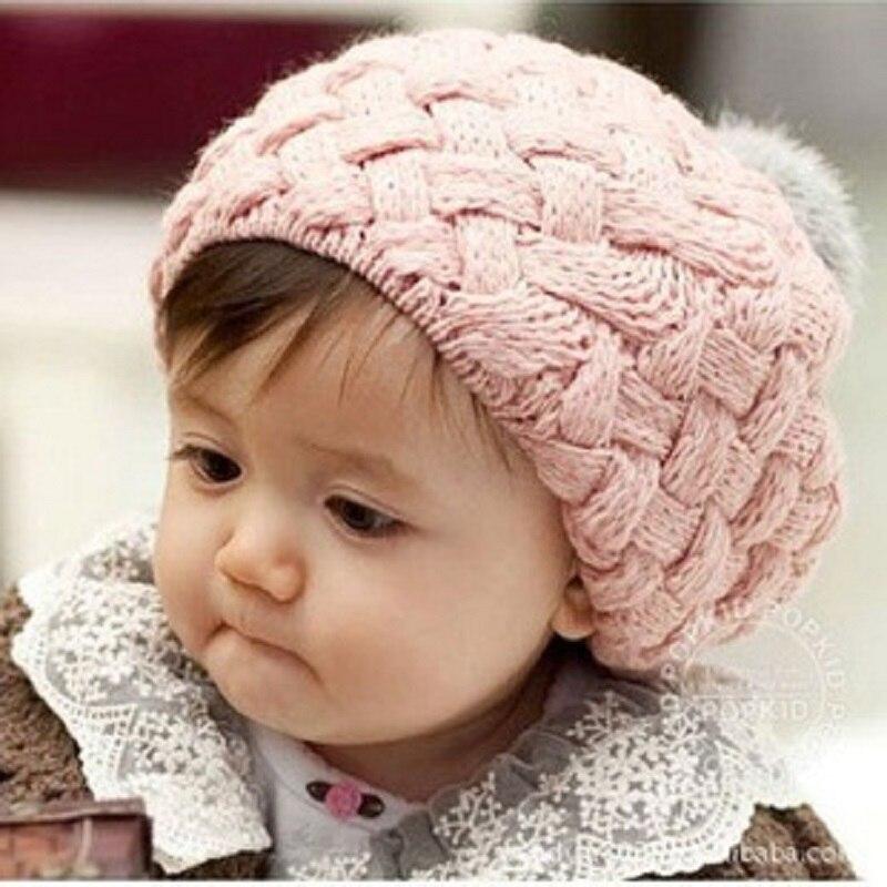 Twist Knit Otoño Invierno Pom Pom Sombreros Beret Kids Moda Lindos - Ropa de bebé
