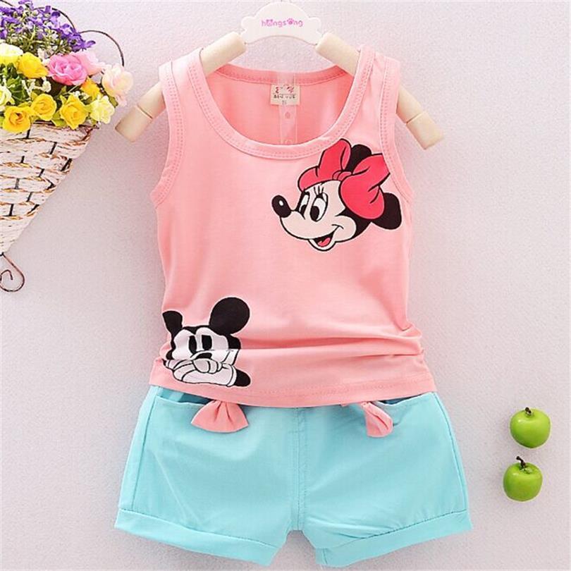 New 2017 Baby Clothing Set Cartoon summer Girls Children clothes set Brand Sport Infant kid Suits Tracksuits Cotton vest + Pants