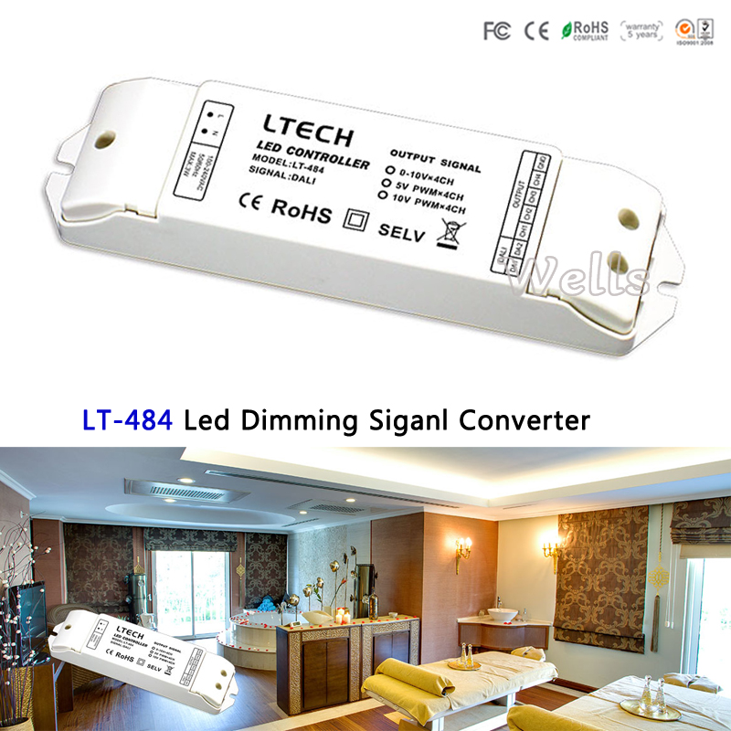 LTECH Led Dimming signal Converter;LT-484;DALI digital dimming signal input;5V PWM x4CH/10V PWM x4CH signal output for led lamp da6 ltech dali dimmer dali digital dimming signal output