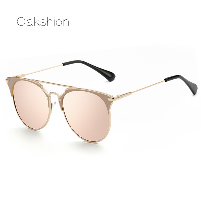 Rose Gold Sunglasses Women Mirror Lens Round Shades Luxury ...