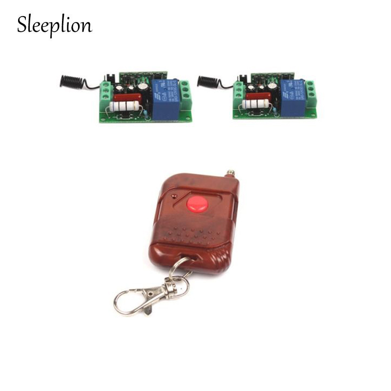 Sleeplion AC 220V 1CH Wireless RF Remote Control Relay Switch Transceiver + 2 Receiver For Lamp Light LED TV Fan dc12v rf wireless switch wireless remote control system1transmitter 6receiver10a 1ch toggle momentary latched learning code
