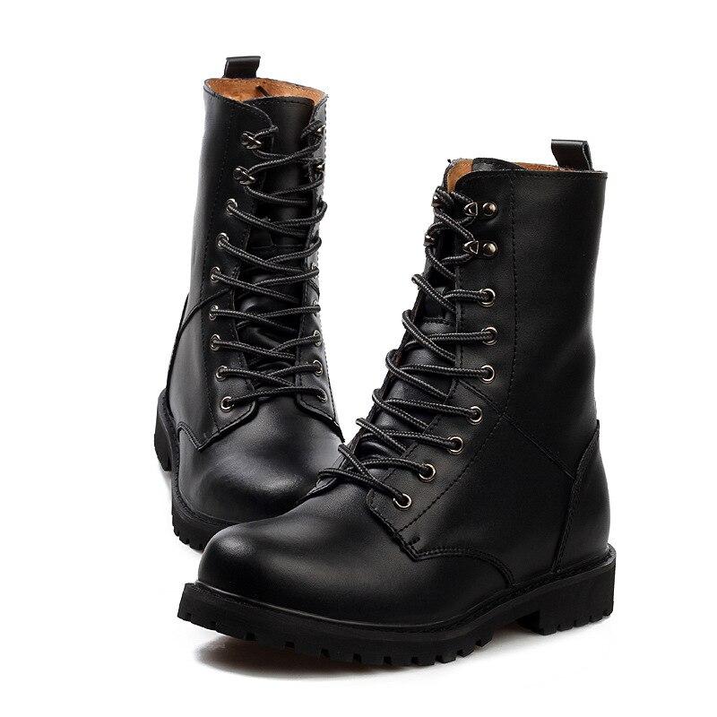 Dos Sapatos Couro Ww Fur Inverno 690 black Homens Táticas fur Masorini Masculinos Calçados Botas brown Quente Militares De Cowboy qwRgIYg