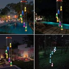 Solar Wind Chime LED Light Portable Color Helical Rotator Outdoor Decoration Garden Terrace