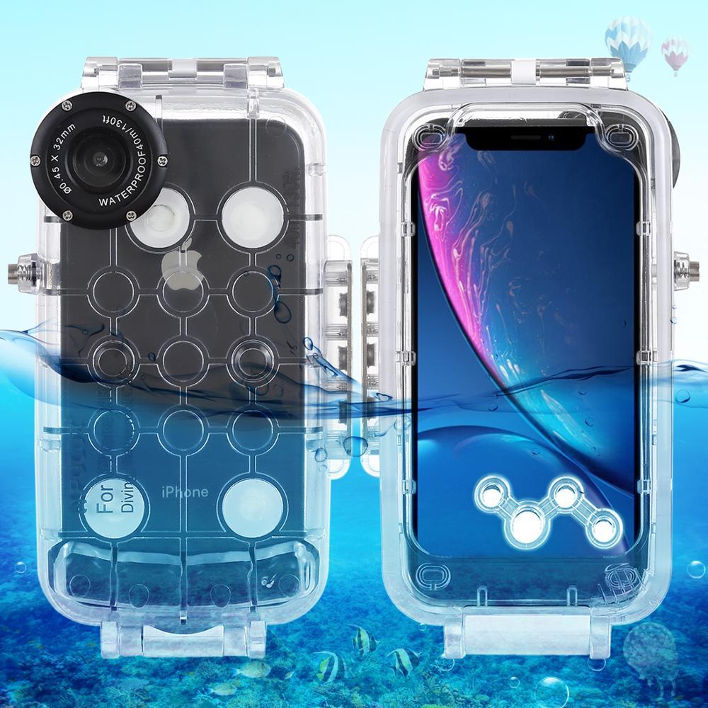 40 m/130ft boîtier de plongée étanche étui de protection de téléphone Photo vidéo prenant étui pour iphone XR 6.1 pouces