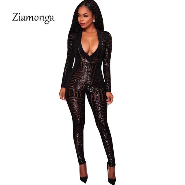 Ziamonga Autumn Women Black Sequin Jumpsuit Sexy V-Neck Sheer Mesh Bodysuit Glitter  Long Sleeve Romper Women Party Club Catsuit 2fd1de88f5b7