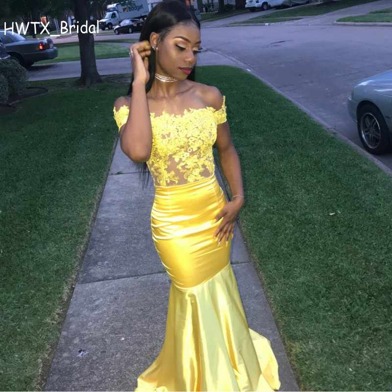 321c400f398 Yellow Sexy Mermaid bridesmaid dresses Elegant Off Shoulder Vintage Lace  Wedding Guest Dress Cheap Long African