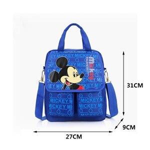 Image 3 - Disney cartoon handbag primary bag school girl boy Mickey mouse Minnie childrendouble pocket portable tutorial bags shoulde