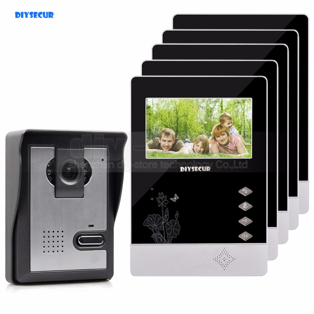 DIYSECUR 4.3 inch Indoor Monitor + 600 TVLine HD Camera IR Night Vision Video Door Phone Video Intercom 1V5 ...