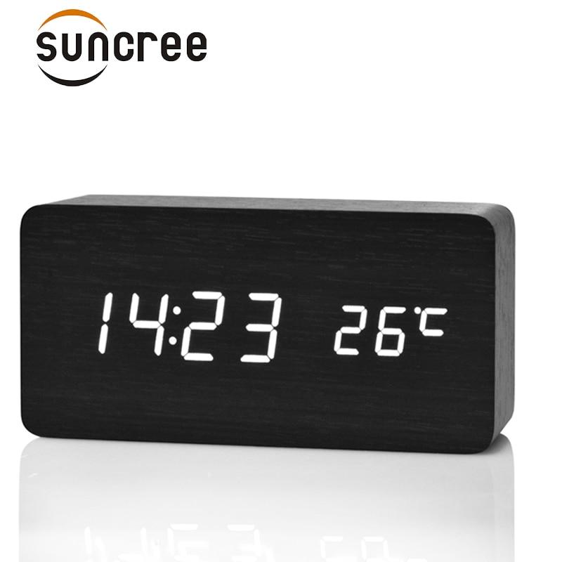 Suncree Holz LED Wecker Display Datum + Zeit + Celsius/Fahrenheit Temperatur Sound Control Funktion EINE Tabelle Desktop uhren