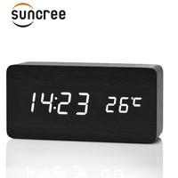 Fibisonic деревянный светодиодный Будильник Дисплей дата + время + Цельсия/по Фаренгейту Температура звук Управление Функция в Настольный часы