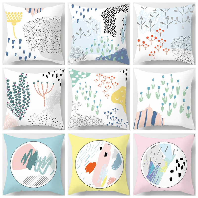 New Hot Creative Abstract Painting Cushion Covers 45x45cm Home office Sofa Waist Pillow Covers Polyester Pillowcase in Cushion Cover from Home Garden