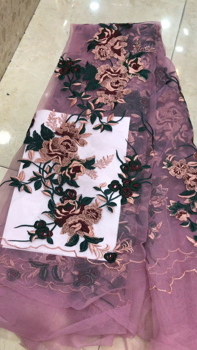 Latest French Nigerian 3d flower Laces Fabrics High Quality Tulle African Laces Fabric Wedding African French