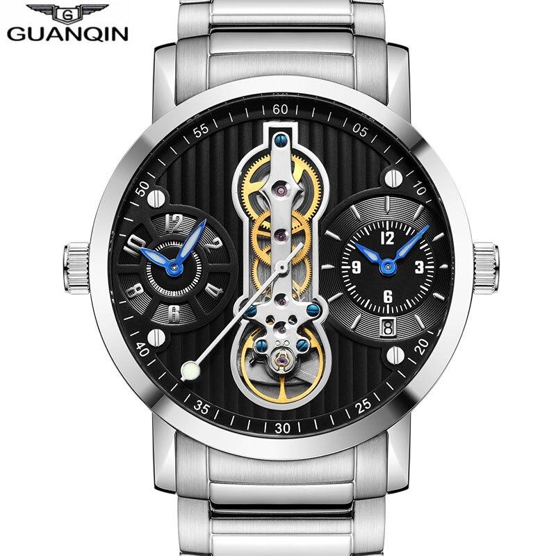 GUANQIN Tourbillon new 2019 Automatic Skeleton Relogio 3 movement Masculino sport Men Watche Waterproof diver Mechanical Watches