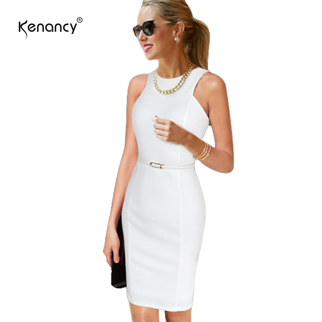 Kenancy Clearance 4xl Plus Size Belted Pencil Dress Women Sleeveless