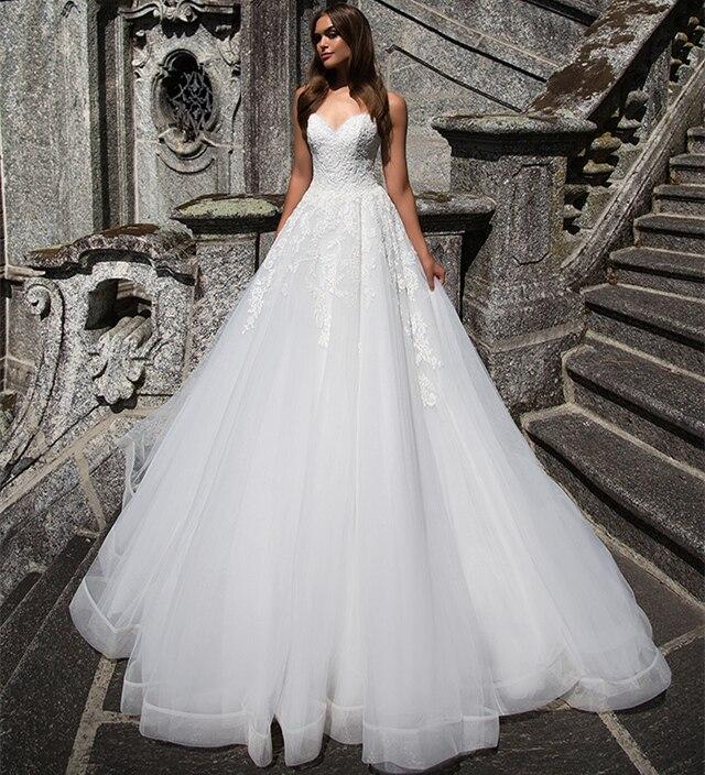 New Design Wedding Gowns: New Design Long White Wedding Dress 2019 Sweetheart Off