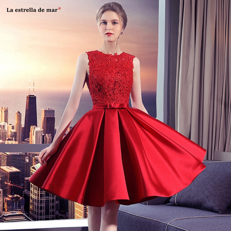 Party-Dress Wedding Bruidsmeisjes Satin Lace Vestido New HALTER Red Cheap Custom Jurk