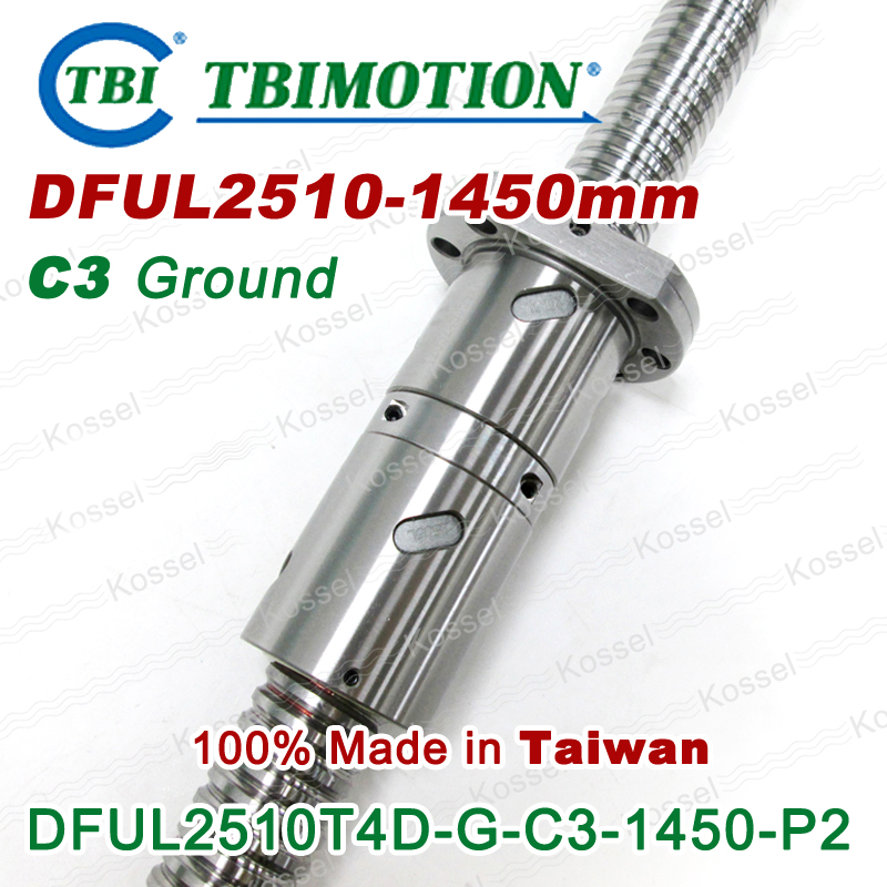 TBI 2510L C3 left Rotation 1450mm Customized Grinding Ballscrew DFU2510 ball screw with one Double ball nut  diy CNC machine винт tbi sfkr 0802t3d