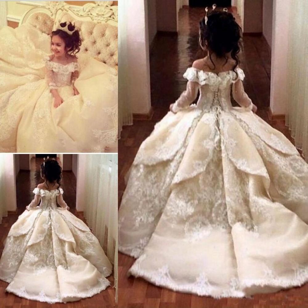 2019 Vintage High Quality Lace   Flower     Girl     Dresses   Elegant Off Shoulder Ball Gown Little   Girl   Pageant   Dresses   Princess Gowns
