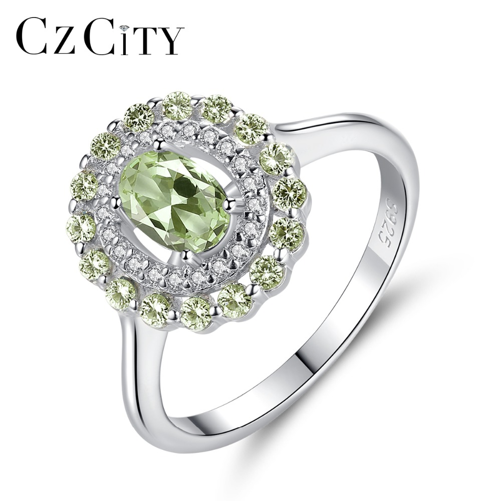 CZCITY Exquisite Silver 925 Sterling Finger Rings For Women Olive Green Stone Oval Cut Engagement Ring Vintage Fine Jewelry GiftCZCITY Exquisite Silver 925 Sterling Finger Rings For Women Olive Green Stone Oval Cut Engagement Ring Vintage Fine Jewelry Gift