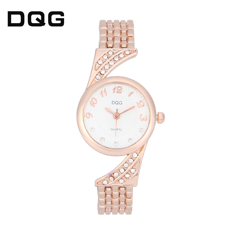 DQG New Fashion Casual Women Watch Steel Quartz Female Dress Wristwatch Hot Sale Rhinestone Strange style Lady Watches Dropship