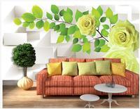 하이 엔드 사용자 정의 3d 벽지 벽화 벽 3D 노란색 장미 흰색 상자 녹색 잎 반사 배경 벽 종이 홈 장식
