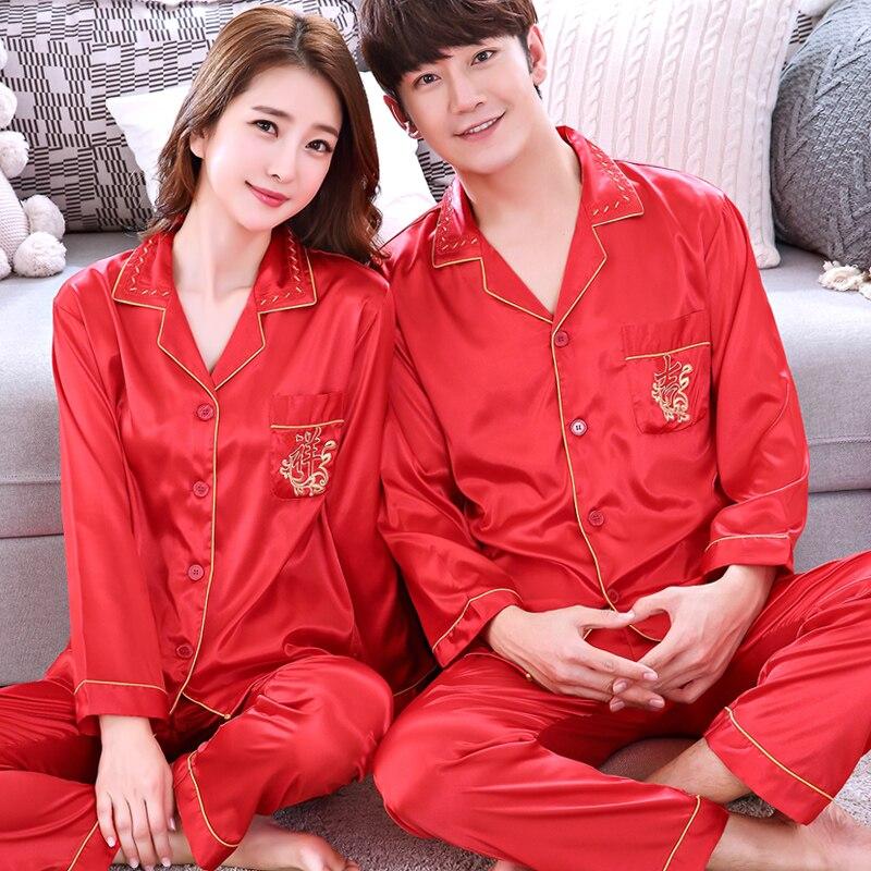 Pijamas de primavera y otoño de seda de imitación roja para amantes de la ropa de dormir de manga larga para boda, trajes de mujer para el hogar H5528