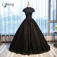 Black Evening Dress Ball Gowns Short Sleeves Evening Formal Ball Gown Dress vestido de noiva de festa Floor Length Ball Dresses