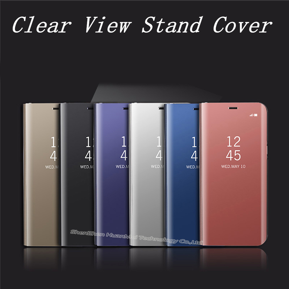 quality design d8e19 6c0f8 US $4.19 40% OFF|Mirror Clear View flip Cover For Samsung Galaxy S9 plus S8  Case For Samsung S7 S6 Edge plus note 8 A3 A5 A7 2017 J5 prime J7-in Flip  ...