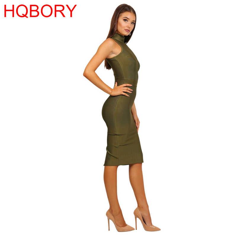 High Neck Sleeveless Celebrity Olive Green Red Black Girl Night Club Women Wholesale Tuktleneck Knee-Length Sexy Bandage Dress