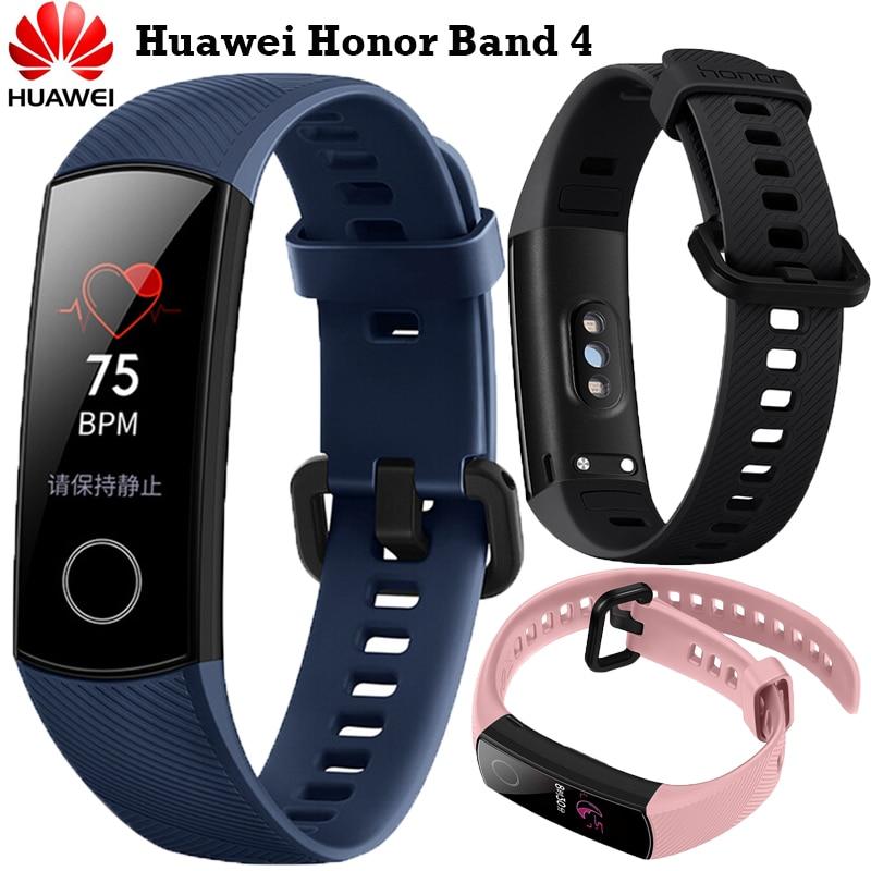 ¡En Stock! Huawei Original Honor banda 4 versión estándar pulsera inteligente toque de Color de pantalla de Monitor de sueño impermeable