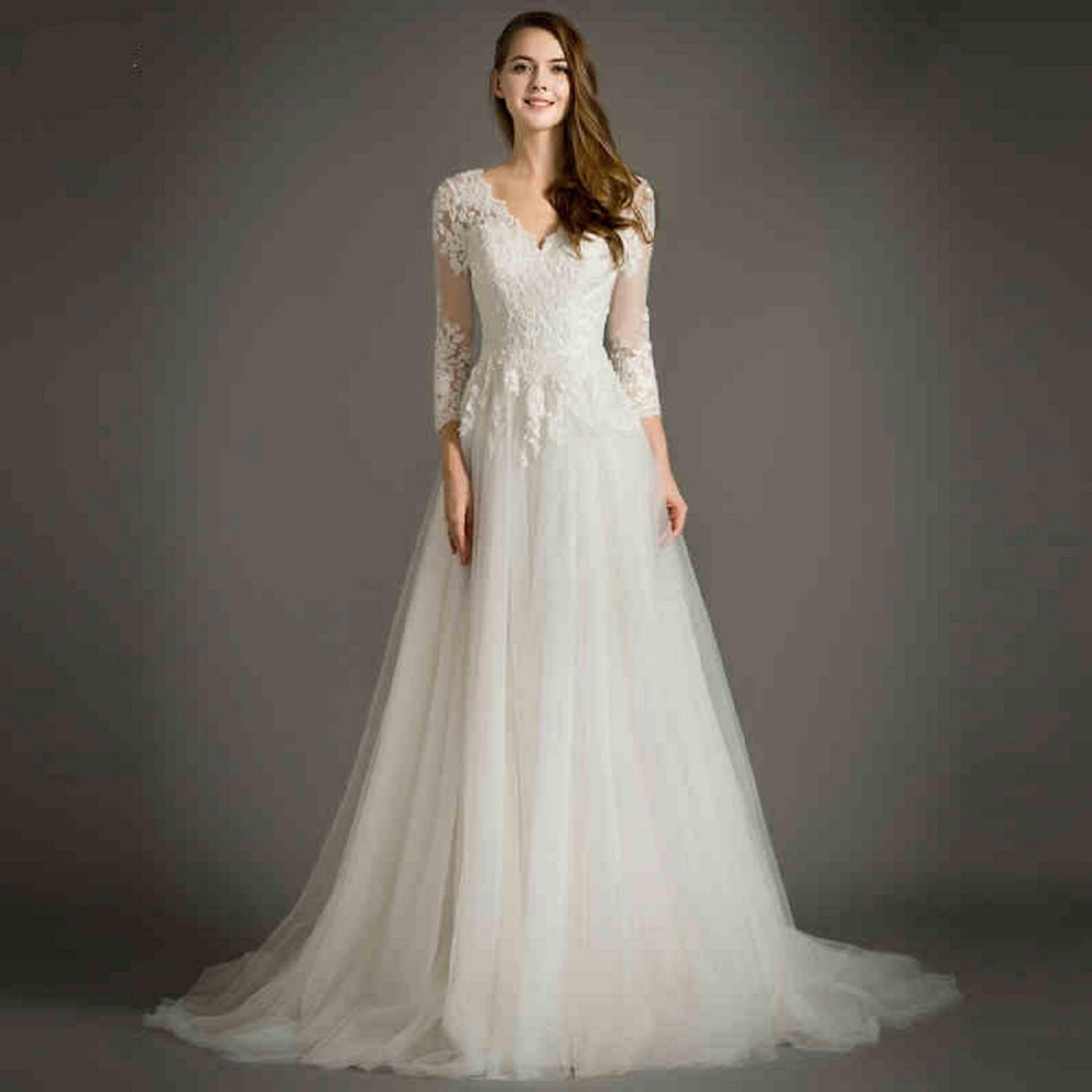 Tacky Wedding Gowns: Modest Long Sleeve V Neck Arabic A Line Lace Romantic Plus