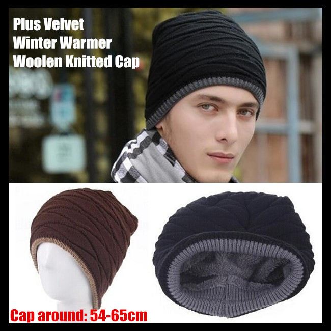 200pcs!Men&Women Unisex Beanie Top Quality Plus Velvet Winter Warmer Hip-hop Slouch Woolen Knitted Cap Snap Slouch Bonnet Hat
