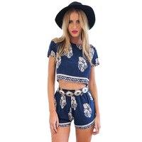 Sexy Dark Blue Floral Abiti A Manica Corta Camicie e Pantaloni Mini imposta Donna Moda Indossa Più Il Formato S M L XL Magazzino disponibile