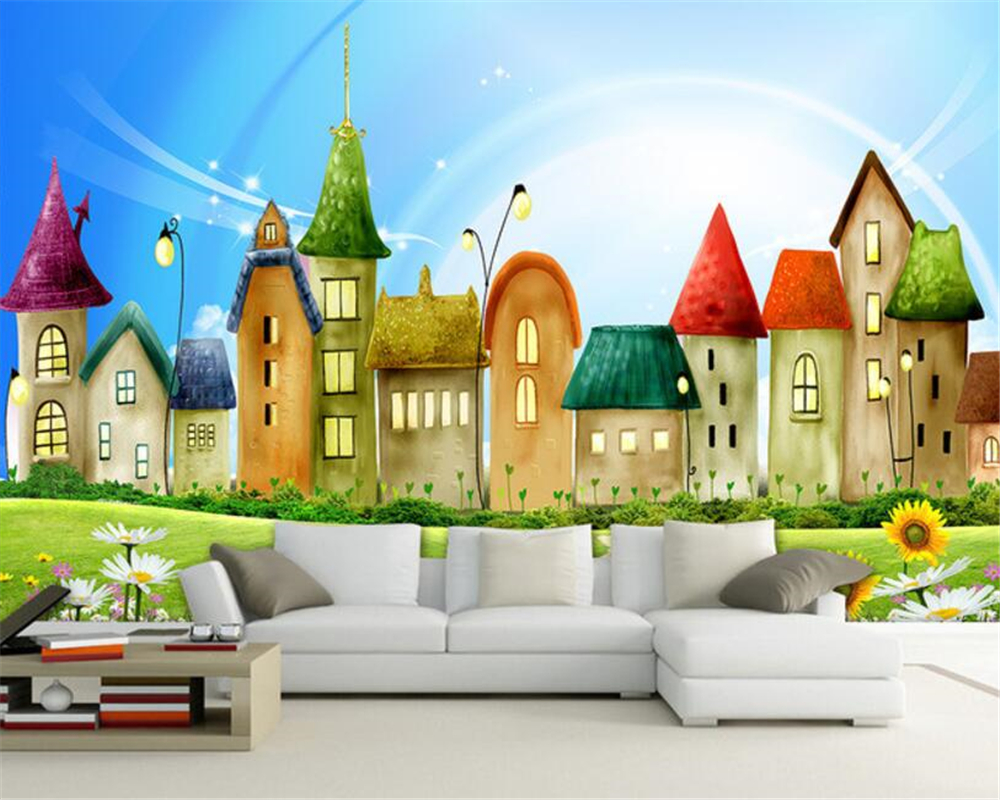 Beibehang wall paper for kids room Castle colorful castle cartoon ...