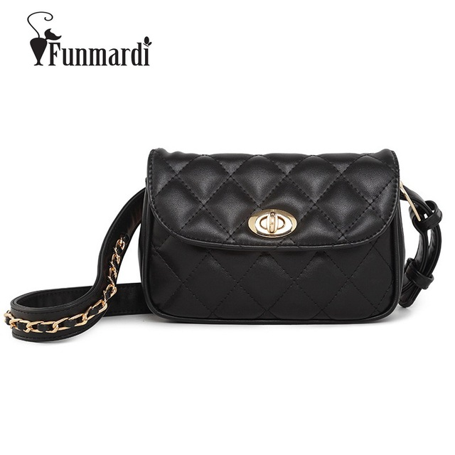 FUNMARDI High Quality Fashion Fanny Packs Classic PU Leather Women Bag 2018 Luxury Brand Belt Bags Casual Shoulder Bags WLAM0224